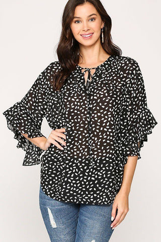 Leopard Print Crepe Top - Black