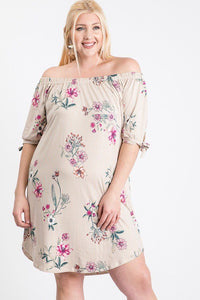 Plus Size Striped Floral Dress - SerenityChic 1XL