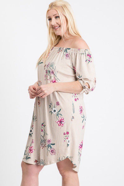 Plus Size Striped Floral Dress - SerenityChic