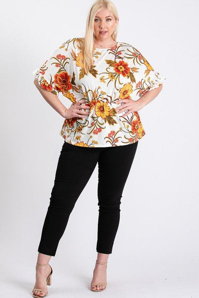 Plus Size Boho Ruffled Top - Ivory