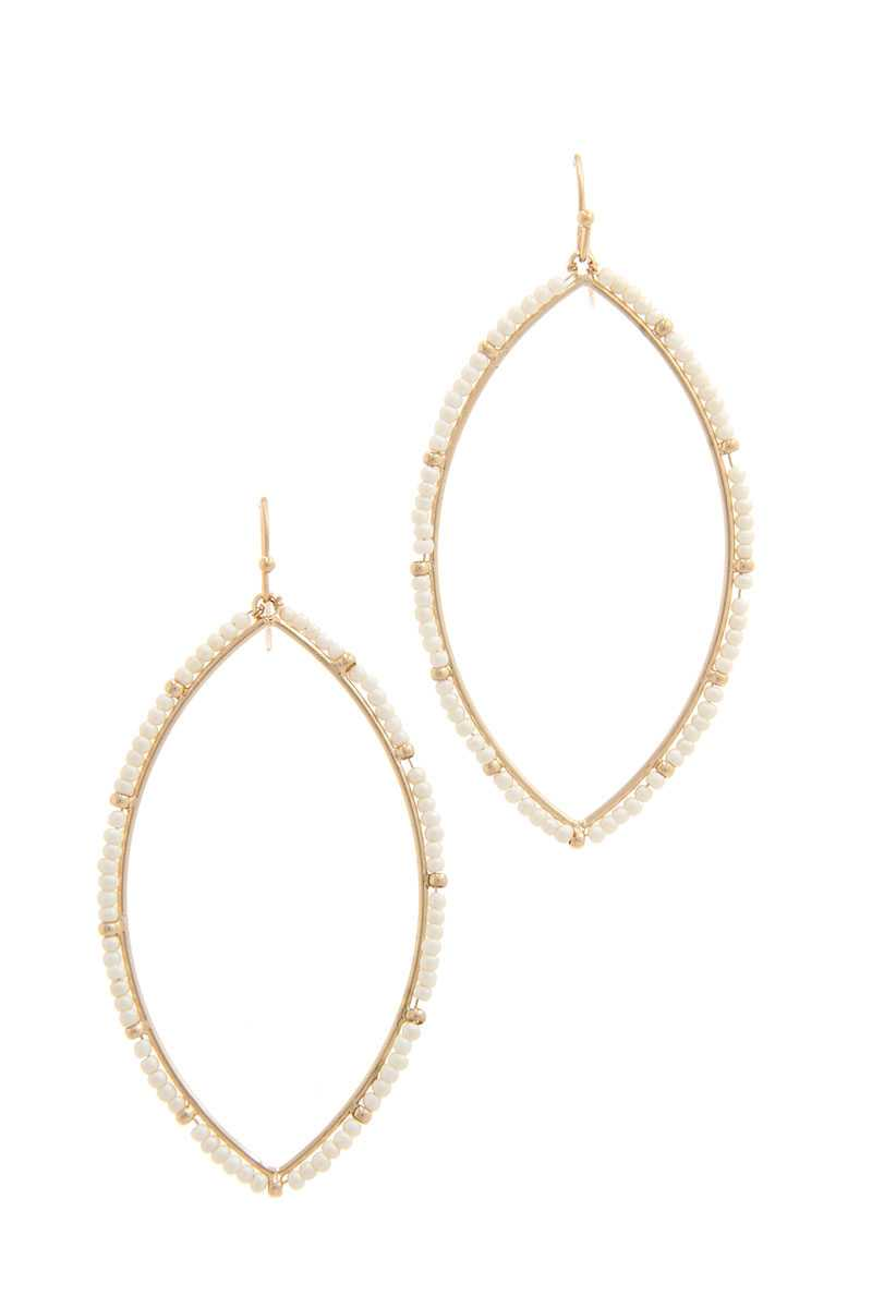 Beaded Pointed Oval Earrings - SerenityChic Gold/Ivory