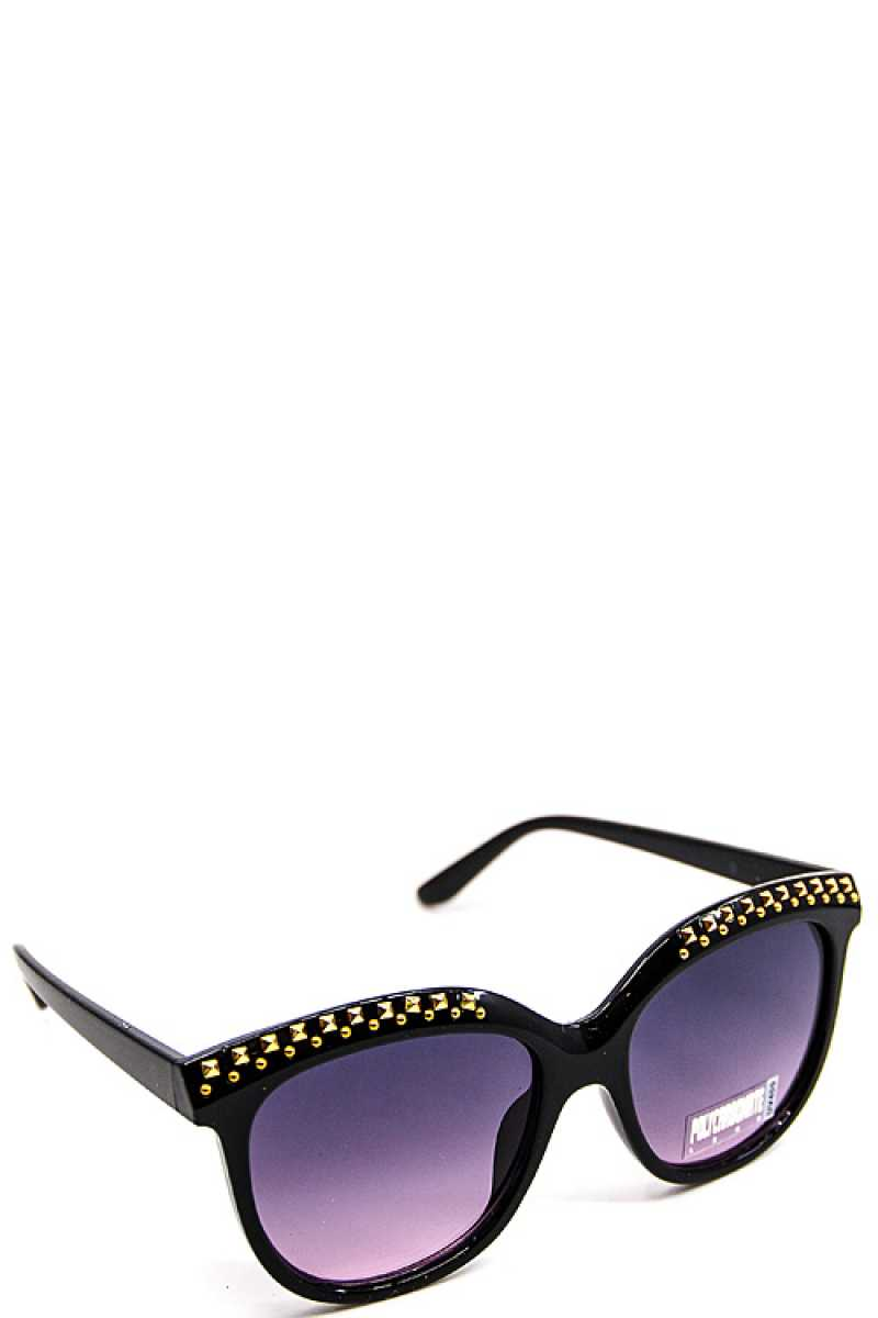 Sleek Embellished Sunglasses - SerenityChic Purple/Gold