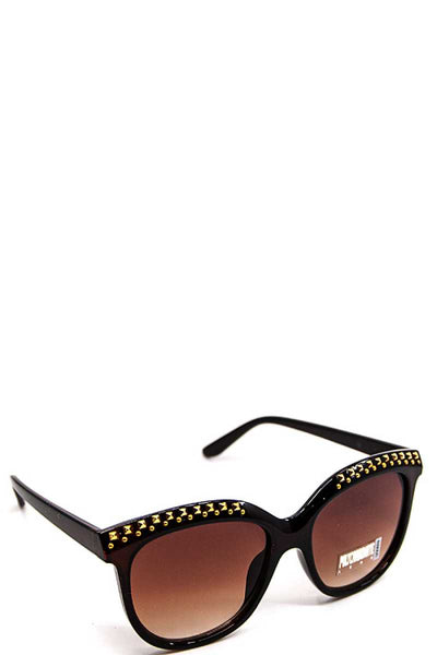 Sleek Embellished Sunglasses - SerenityChic Brown