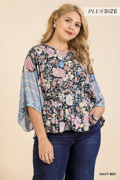 Plus Size Floral Scarf Top - Navy