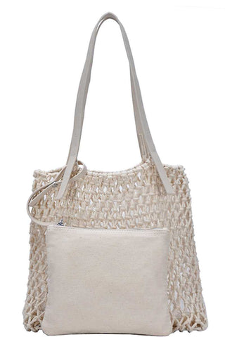 Boho Woven 2-in-1 Tote Bag - SerenityChic Cream