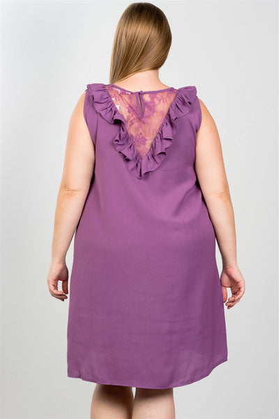 Plus Size Lace Shift Midi Dress - Purple