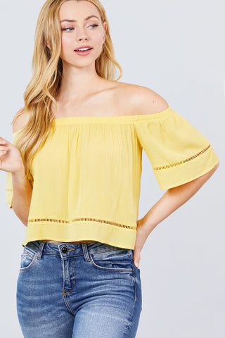Boho Off The Shoulder Top - Yellow - SerenityChic
