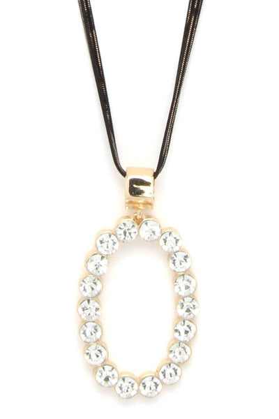 Rhinestone Oval Long Necklace - SerenityChic