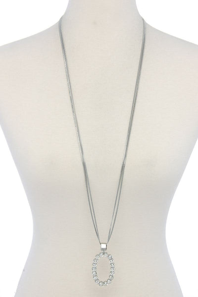 Rhinestone Oval Long Necklace - SerenityChic Rhodium