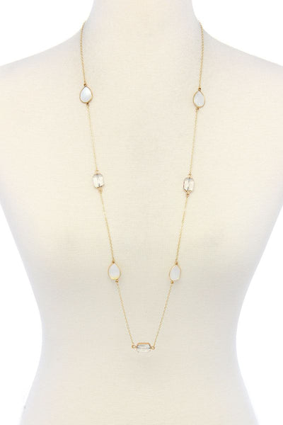 Multi Stones Long Necklace - SerenityChic Clear