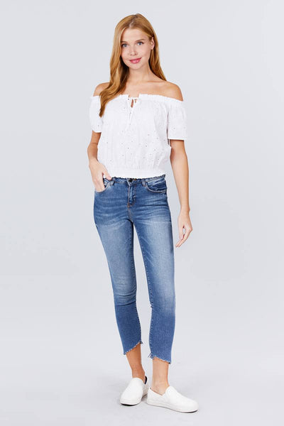 Off The Shoulder Eyelet Lace Woven Top - White - SerenityChic
