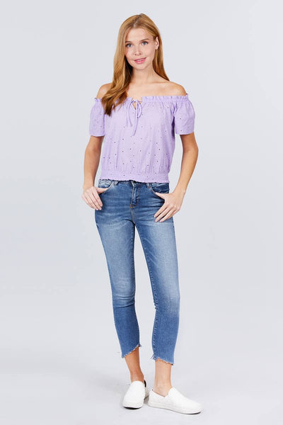 Off The Shoulder Eyelet Lace Top - Lilac - SerenityChic
