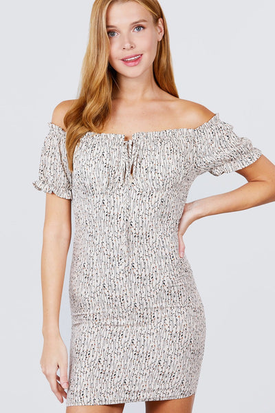 Smocked Print Woven Dress - Taupe - SerenityChic