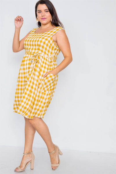 Plus Size Checkered Gingham Midi Dress - Yellow