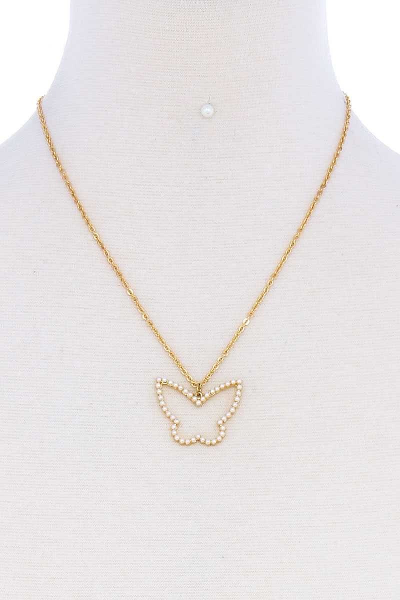 Stylish Cute Butterfly Out Line Necklace And Earring Set - SerenityChic