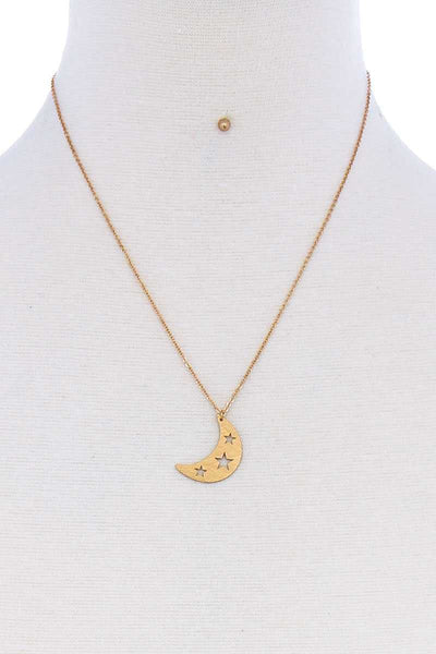 Crescent Moon And Star Pendant Necklace Set - SerenityChic Gold