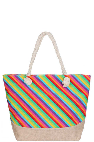 Rainbow Stripes Tote Bag - SerenityChic Rainbow
