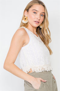 Bohemian Lace Sheer Fringe Crop Top