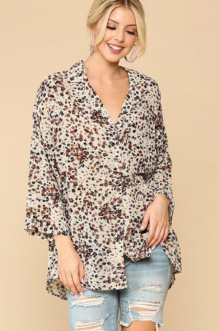 Animal Print Button Down Shirt - Cream