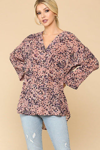 Animal Print Button Down Shirt - Rose