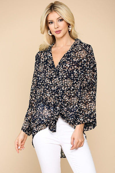 Animal Print Button Down Shirt - Navy