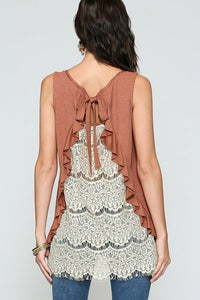 Ruffled Back Lace Tank Top - Red Clay