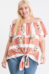Plus Size Ruffled Front Tie Top - Dusty Rose