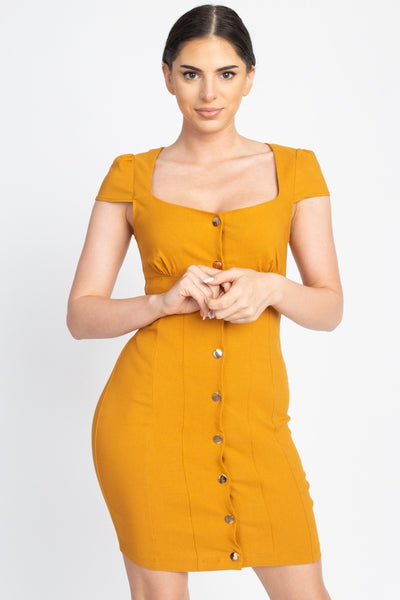 Button Down Mini Dress - Mustard