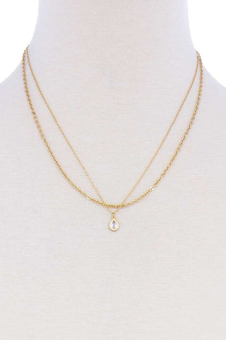Layered Chain Teardrop Pendant Necklace - Gold or Silver
