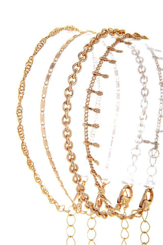 Set of 4 Chain Bracelets - Gold or Silver