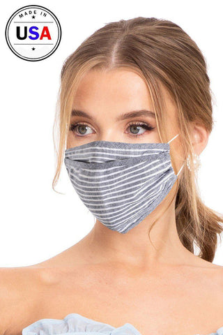 Reusable Face Mask - Gray and White Stripes