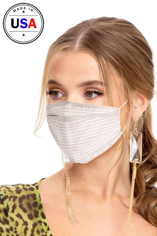 Reusable Face Mask - Striped/Sand