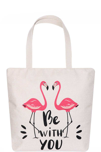 Flamingo Be With You Print Tote Bag