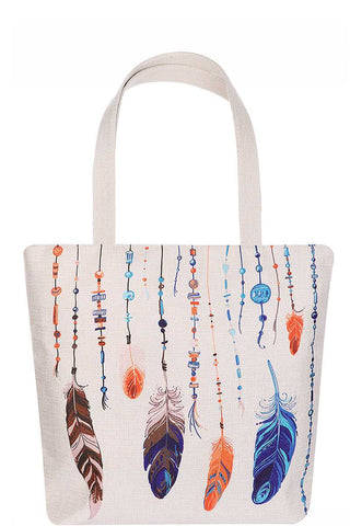 Multi Color Feather and Bead Print Tote Bag