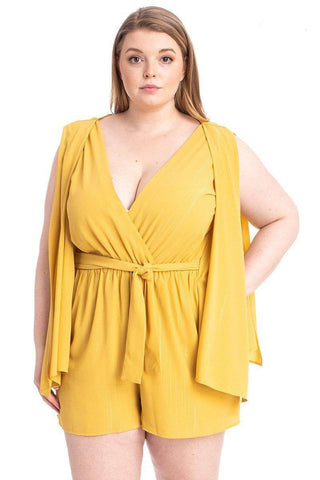 Plus Size Draped Open Sleeve Romper - Yellow