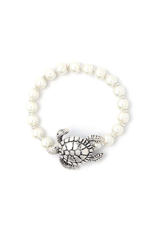 Sea Turtle Charm Beaded Bracelet - Silver or Gold