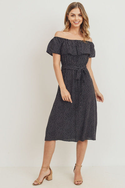 Boho Off The Shoulder Midi Dress - Black and White Polka Dot
