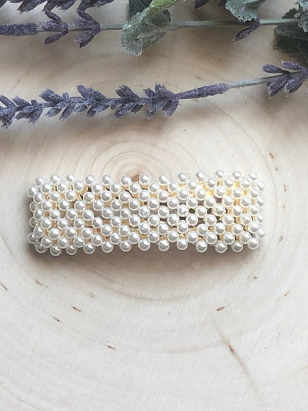 Large Pearl Hair Clip - Rectangle