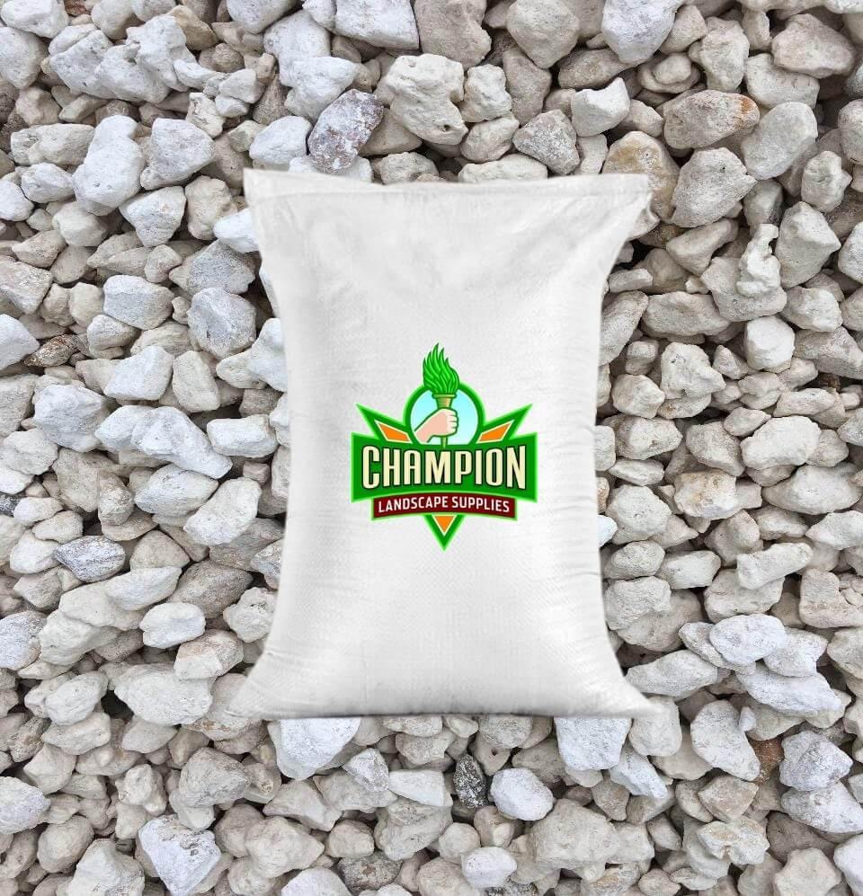 "Limestone Gravel Bag ( 1.5"" White ) - Champion Landscape Supplies - BAGGED MATERIAL"