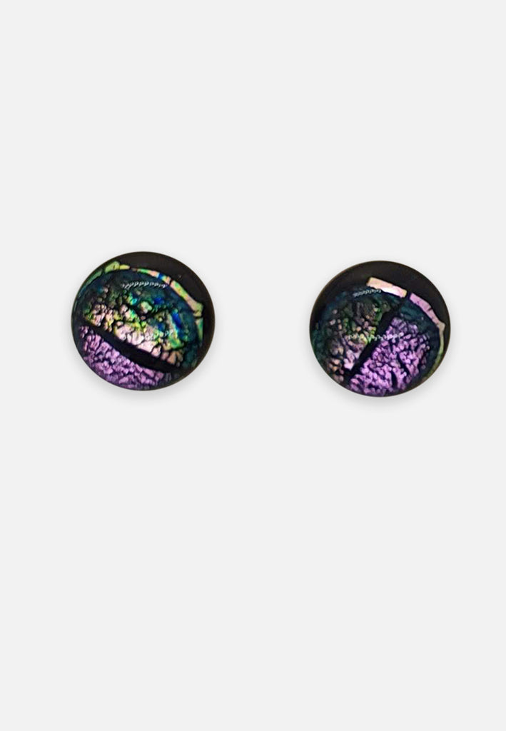 Metallic Purple + Green Glass Stud Earrings