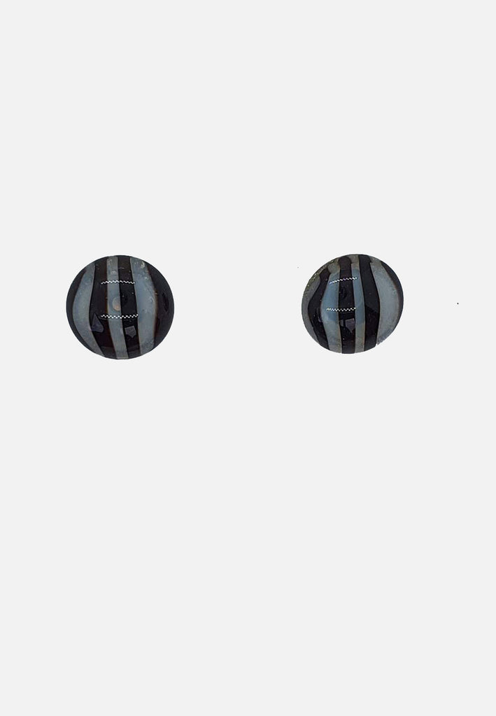 Black Striped Glass Stud Earrings