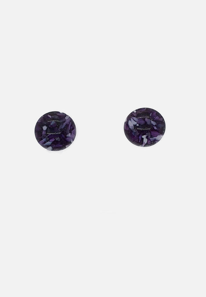 Dappled Purple Glass Stud Earrings
