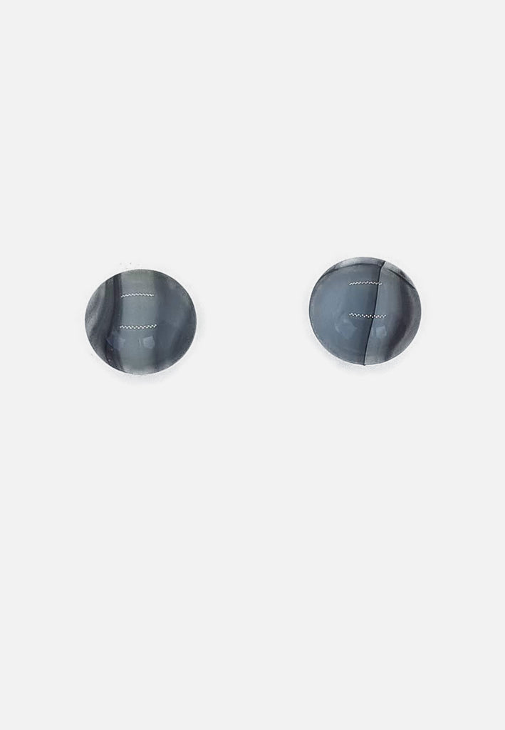Grey Striped Glass Stud Earrings