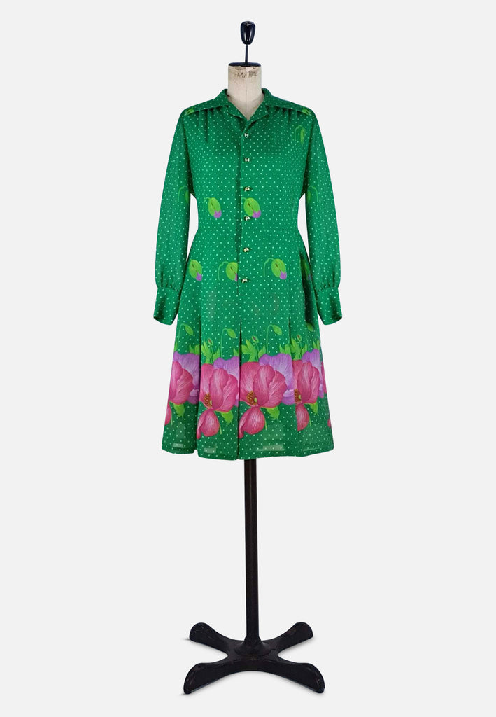 Long Sleeve Green and Pink Dress