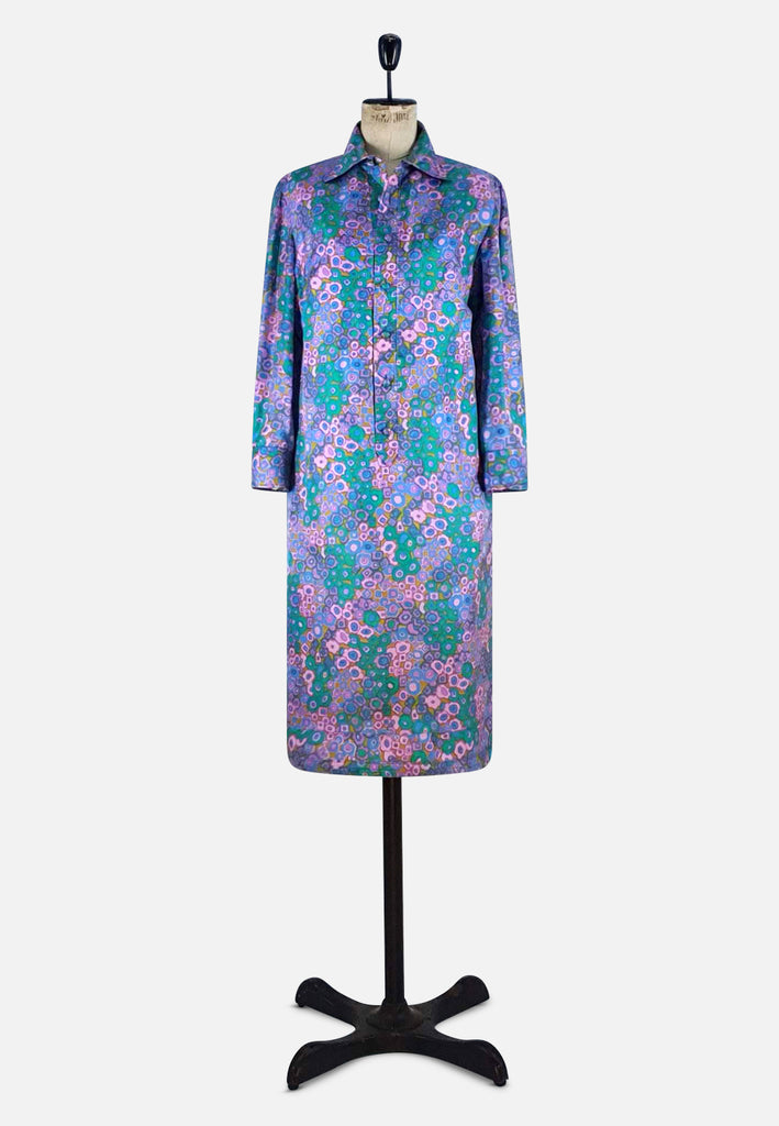 UK Floral Silk Long Sleeve Dress