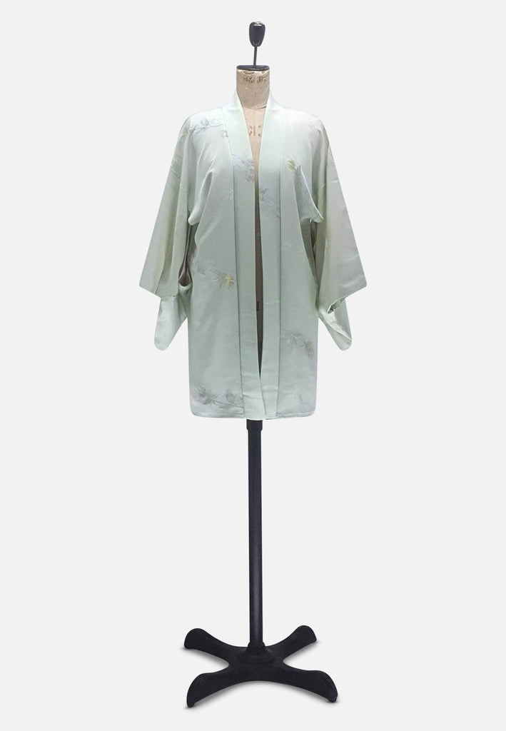 Green Metallic Thread Japanese Silk Kimono