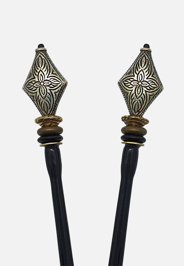 'Launch Silver' Hairsticks (pair)