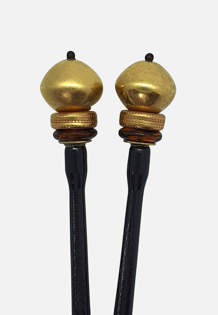 Gold and Black Hairsticks (pair)