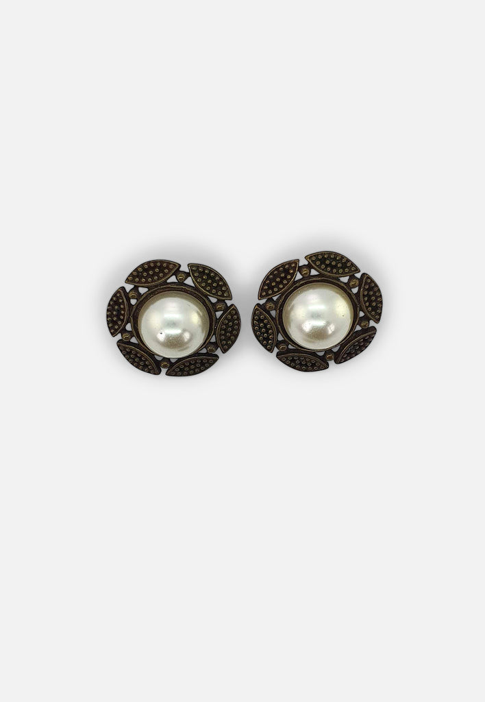 Faux Pearl Sun Earrings (clip-on)
