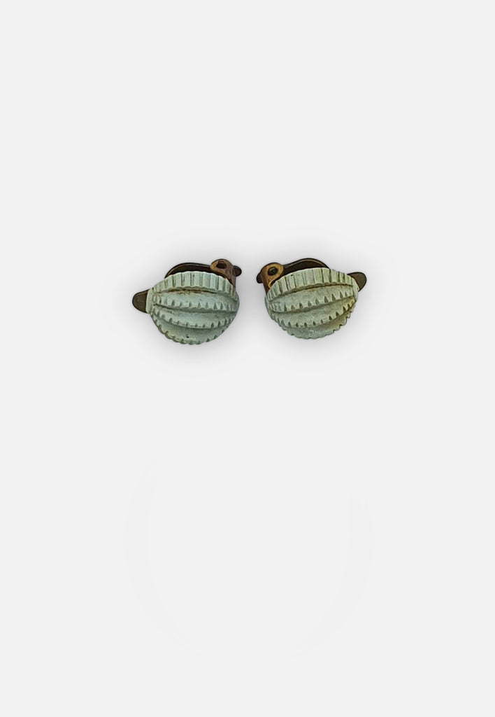 Textured Green Earrings (clip-ons)